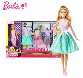 DVJ64 BARBIE DOLL FASHION ACTIVITY GIFT SET