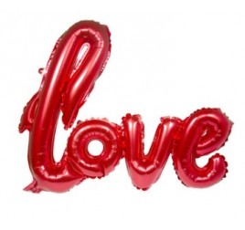 5FL29295 SCRIPT FOIL BALLON LOVE RED