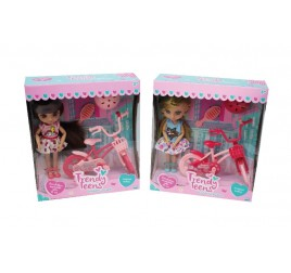 44651 TRENDY TEENS MINI FASHION DOLL C/BICI